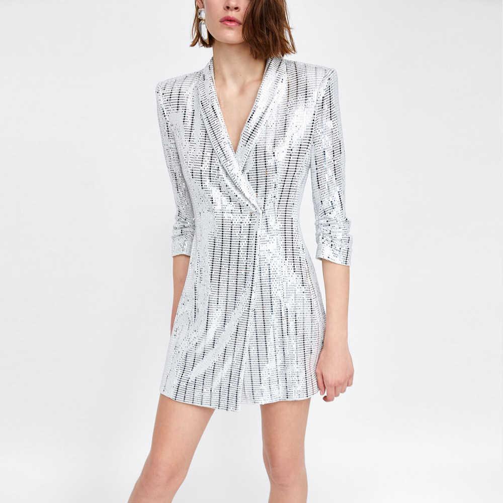 418adec624 ... LXUNYI Silver Sequins Dress Short Office Wear Ladies Blazer Dress Women  Covered Button Elegant Short Party ...