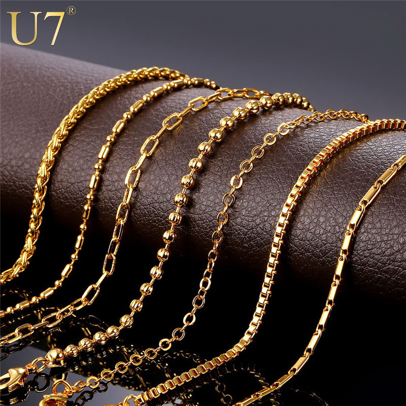 U7 Basic Chains For Pendant Men / Women Jewelry DIY Gold Stainless Steel 3MM/2MM Twisted Rope Chain Necklace Adjustable N401