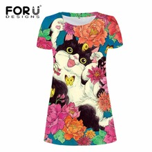FORUDESIGNS Super Cute Animal Printed Women Dress 3D Floral Cat Face Pencil Female Casual Girls Summer Slim Vestidos