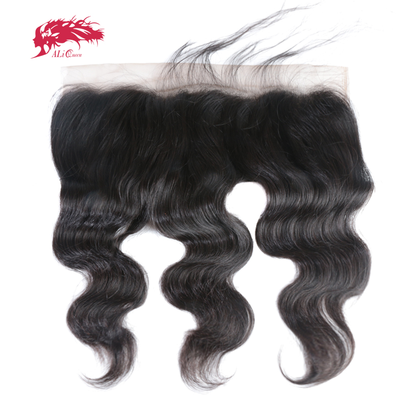 Ali Queen 13x6 Pre Plucked Hair Line Cordón Frontal Brasileño Virgin Hair Body Wave Color Natural Cierre Cordón Suizo Envío Gratis