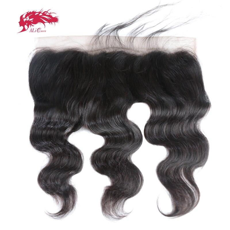 Ali Reine 13x6 Pré Pincées Ligne De Cheveux Dentelle Frontale Brésilienne Vierge Cheveux Corps Vague Couleur Naturelle Fermeture Suisse dentelle Livraison Gratuite