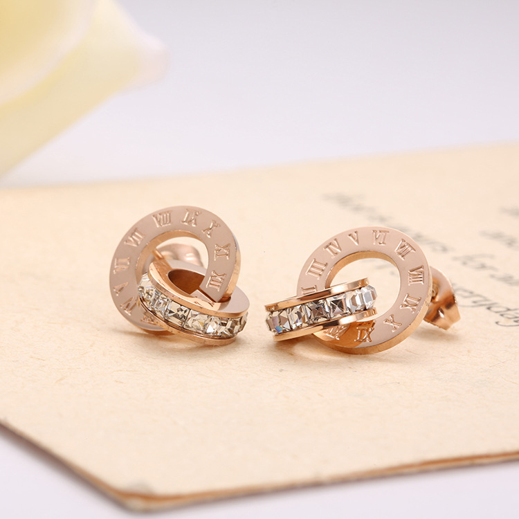 New Shiny Cubic Zirconia Roman Numerals Double Circle Stud Earrings Titanium Steel Rose Gold Engagement Wedding Earrings E17014