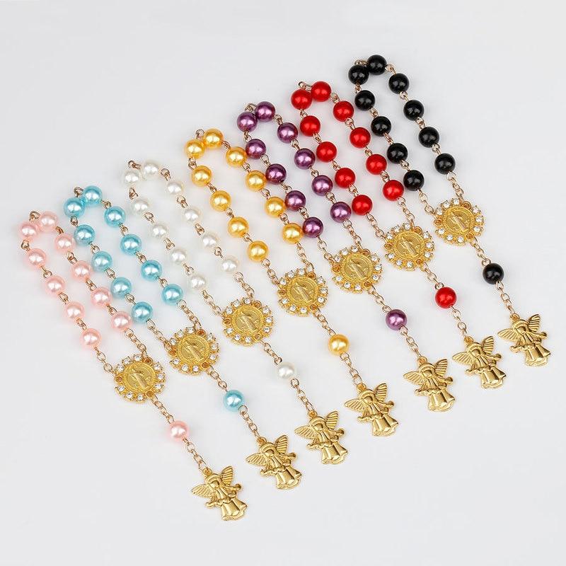 Kids Religious Jewelry Catholic Holy Communion Rosary Bracelet Angel Pendants Baptism Christening Finger Rosaries Gift