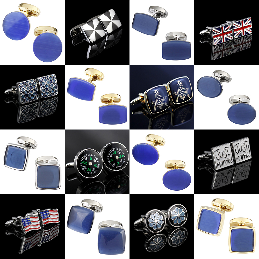 Memolissa Luxury Opal Cufflinks Noble Blue Mens Cufflinks Wedding Cufflinks Exquisite Gifts For Men Business Shirts Cufflink
