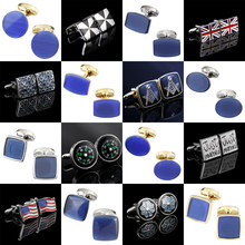 Memolissa Luxury Opal Cufflinks Noble Blue Mens Cufflinks Wedding Cufflinks Exquisite Gifts for Men Business Shirts Cufflink(China)