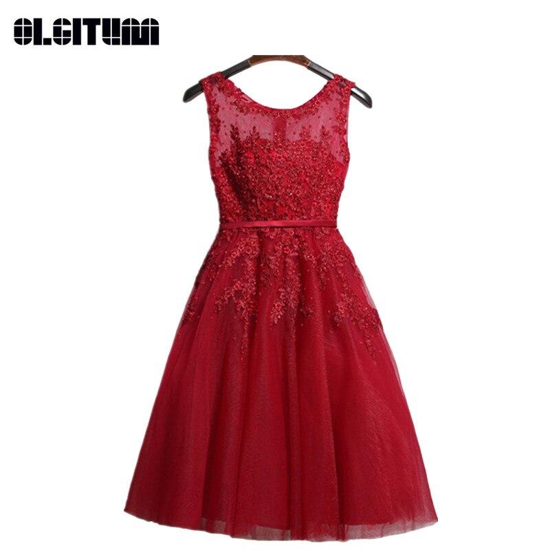 Mode fête mariée bal robe formelle soirée rose dentelle robes courtes broderie avec perlée Perspective dos nu DR342