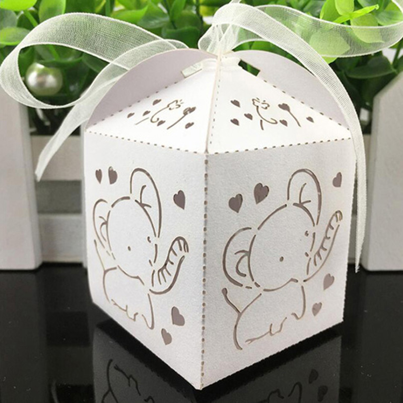 50pcs Lovely Baby Elephant Laser Cut Candy Box Gift Box Baby Shower Souvenir Kids Party Favors Happy Birthday Wedding Decortions