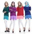 2015 moda de alta qualidade Islâmico topo da menina casual chiffon camisa de manga longa blusas tops plus size para mulheres muçulmanas roupas