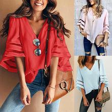 Summer V Neck Women Casual Loose Blouse Lady Half Sleeve Lace Chiffon Tops Shirt sweet half sleeve round neck ruffled women s chiffon blouse