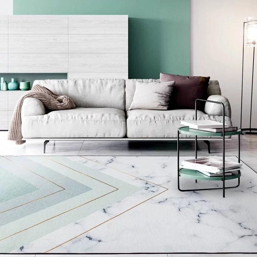 Tapis de salon géométrique marbré de style Simple, tapis de chevet de couleur verte de lac de grande taille, tapis de décoration nordique