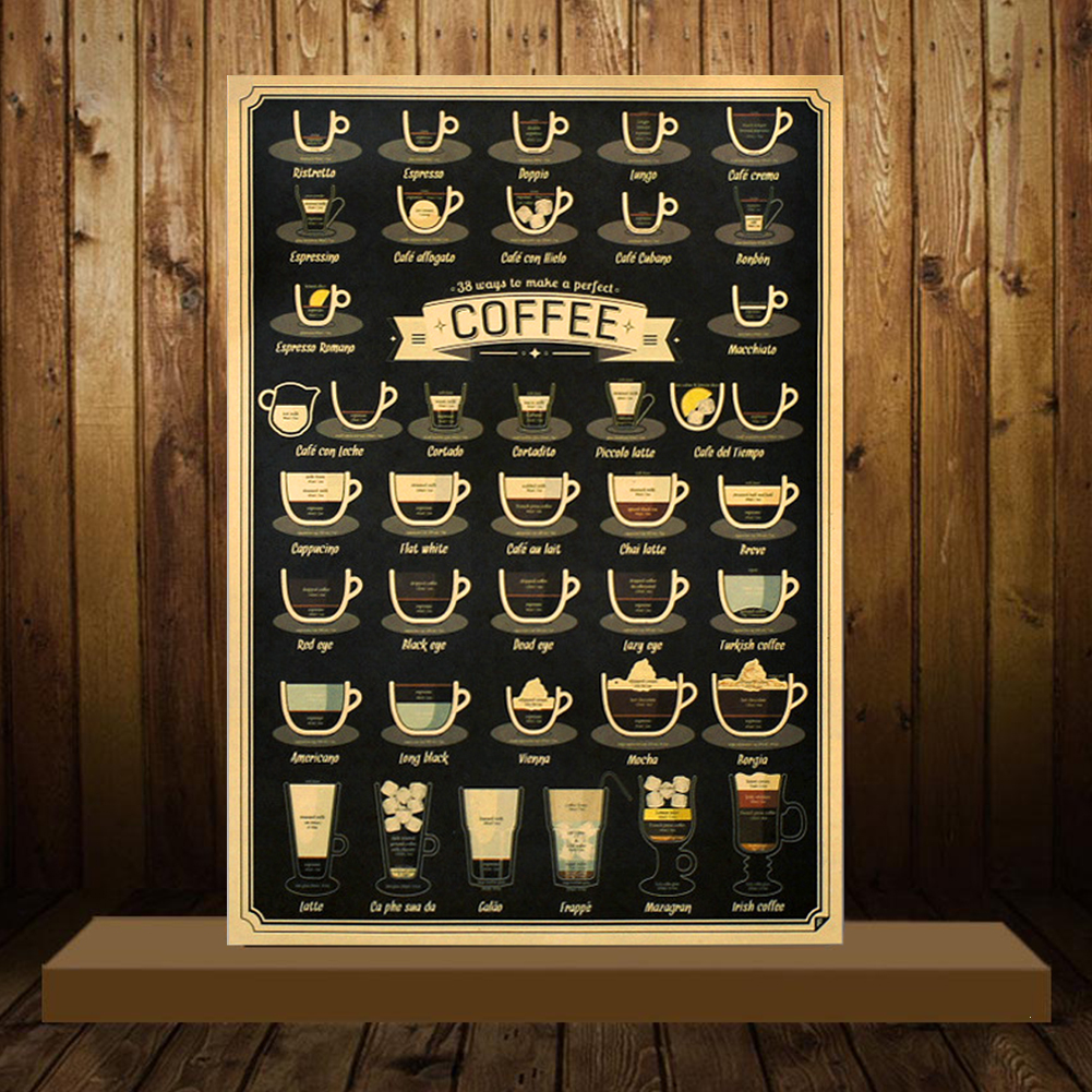 2019 NEW HOT SALES 51.5X36cm Bars Cafe Kitchen Coffee Making Manuals Retro  Adornment Vintage Wall Sticker
