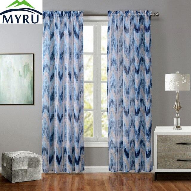 MYRU Fashion Fresh Elegant Geometric Pattern Blue Window Screen Pop Style Fine Cross Linen Sheer Curtain