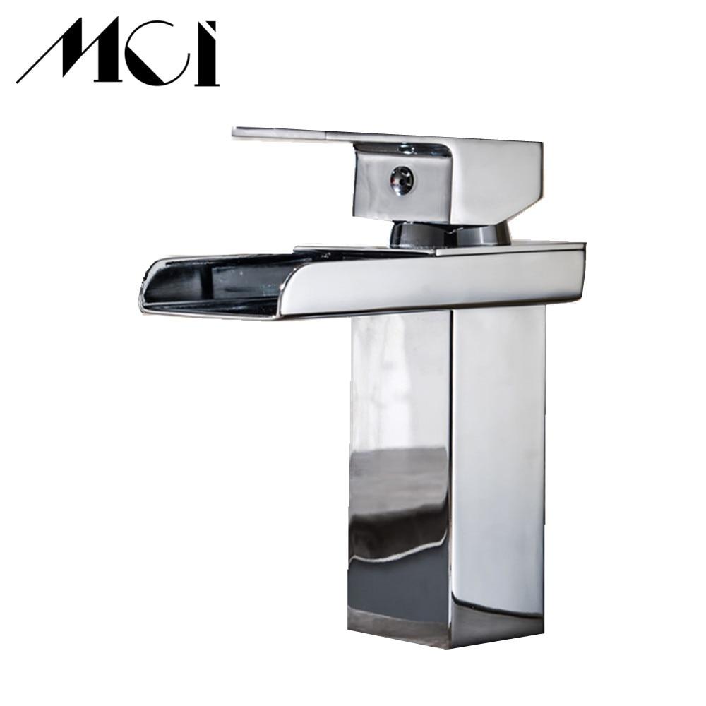 Salle de bain cascade robinet à LED. Robinet de lavabo en laiton avec cascade en verre. Mitigeur salle de bain robinet pont monté bassin sin Torneira Cozinha