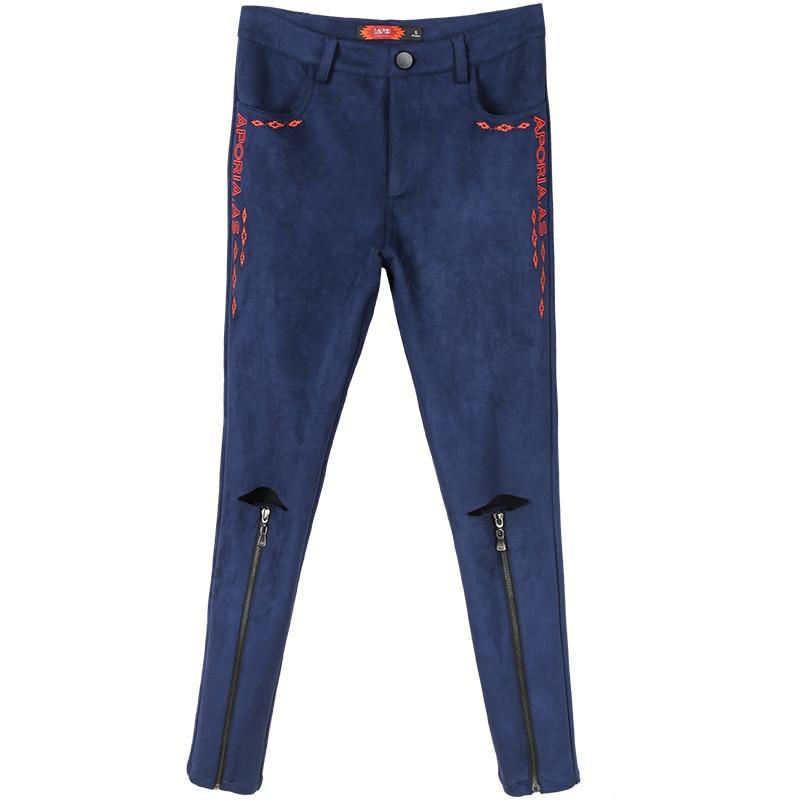 Lápiz 33033 Suede Nueva Retro Femeninos Stretch Agujero Original 2018 Azul Pantalones Primavera Nueve Az4wa