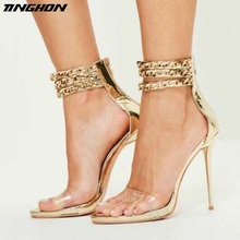 TINGHON Sexy Metal Chain High Heels Sandals Thin Heels Gladiator Women Sandals Summer Party Shoes Lace-Up Wedding Shoes