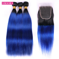 Smoora Ombre 1B/Blue Brazilian Hair 3 Bundles Straight Non Remy Ombre Human Hair Weave Bundles with Lace Closure 4*4 Free Part