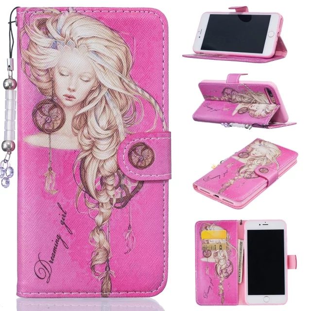 Dower Me Sleeping beauty Flip Wallet Leather Phone Case Cover With Card Slot For Iphone 7 6 6S Plus 5S Samsung Galaxy Note 7
