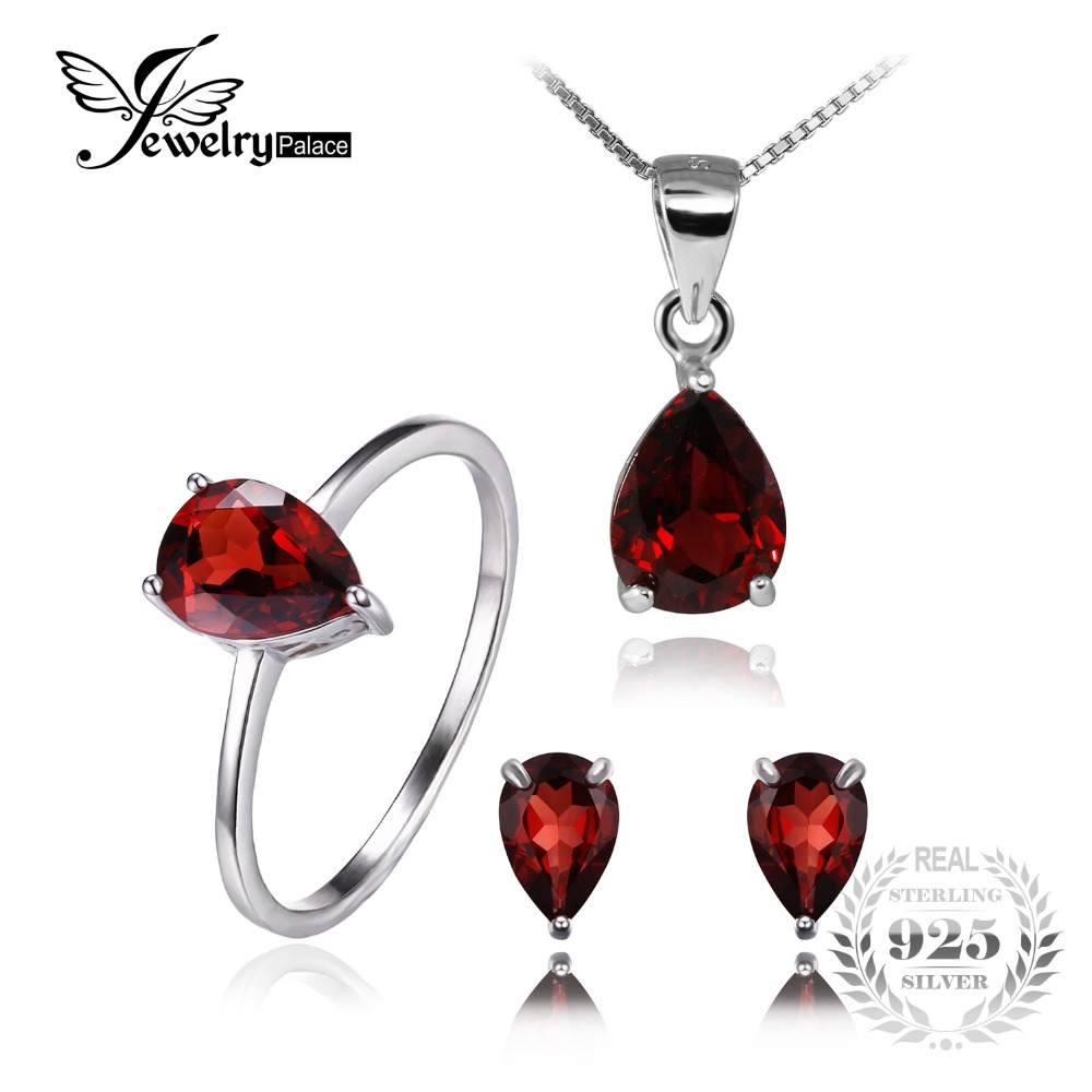 Jewelrypalace natural garnet ring earring pendant for Ct fletcher its still your set shirt