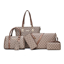 купить Women Handbag Leather Shoulder Bags Fashion Totes Female Purse Six-Piece Set Designer Brand Bolsa Feminina Large Capacity Casual дешево