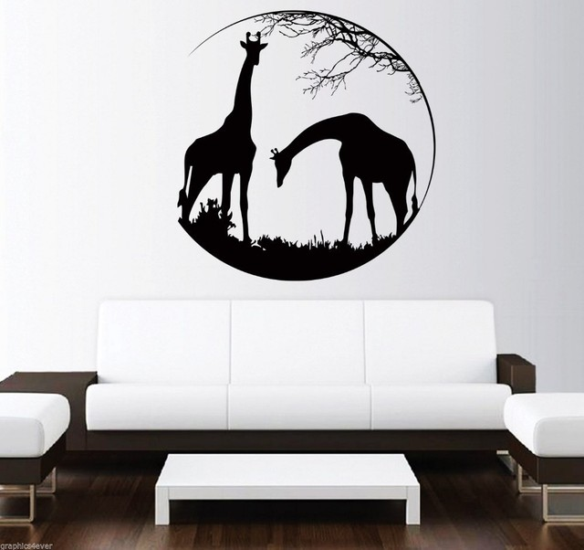 Circle Patterned Deer With Animals Silhuette Wall Decals Jungle - Vinyl wall decals animals