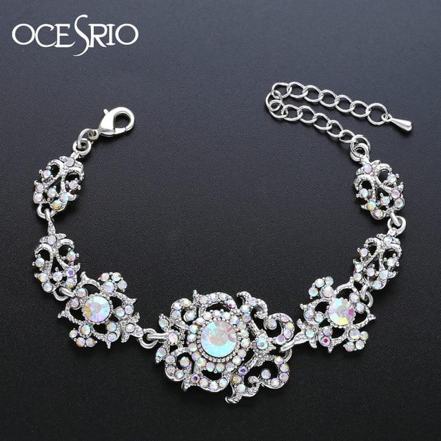 Ocesrio Luxury Flower Bridal Bracelet For Bridesmaids Bride Crystal