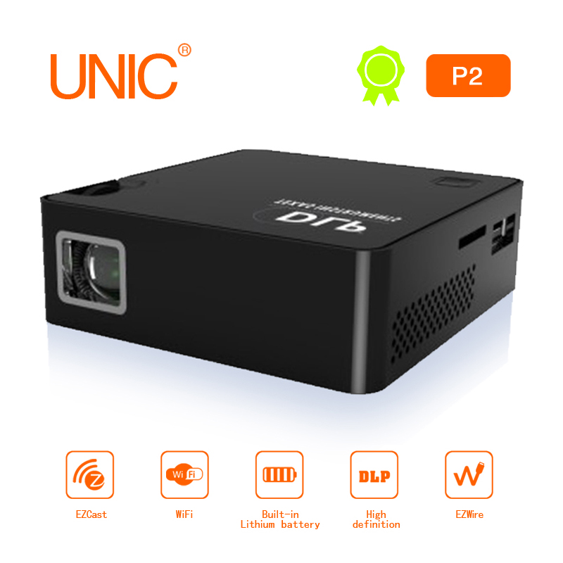 UNIC Convenient mini Projector P2 DLP HD 1920X1080P Built in Battery Handheld Mobile Film Projector with