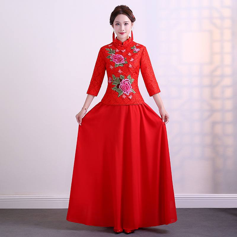 Qipao Wedding Gown: Red Traditional Wedding Gown Cheongsam 2017 New Bride