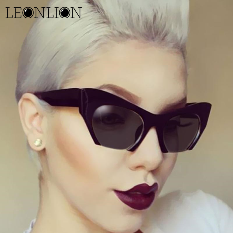 LeonLion 2018 Semi-Rimless Cat Eye Sunglasses Women/Men Vintage Glasses UV400 Outdoor Candy Color Driving Shopping Oculos De Sol