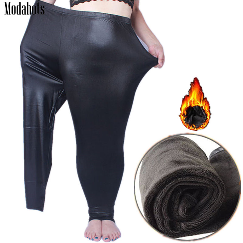 Autumn Winter Women Leggings Fake Leather Plus Size Thick Velvet 5xL Big Sizes Large Legging Pants Leggins Black Warm Femme