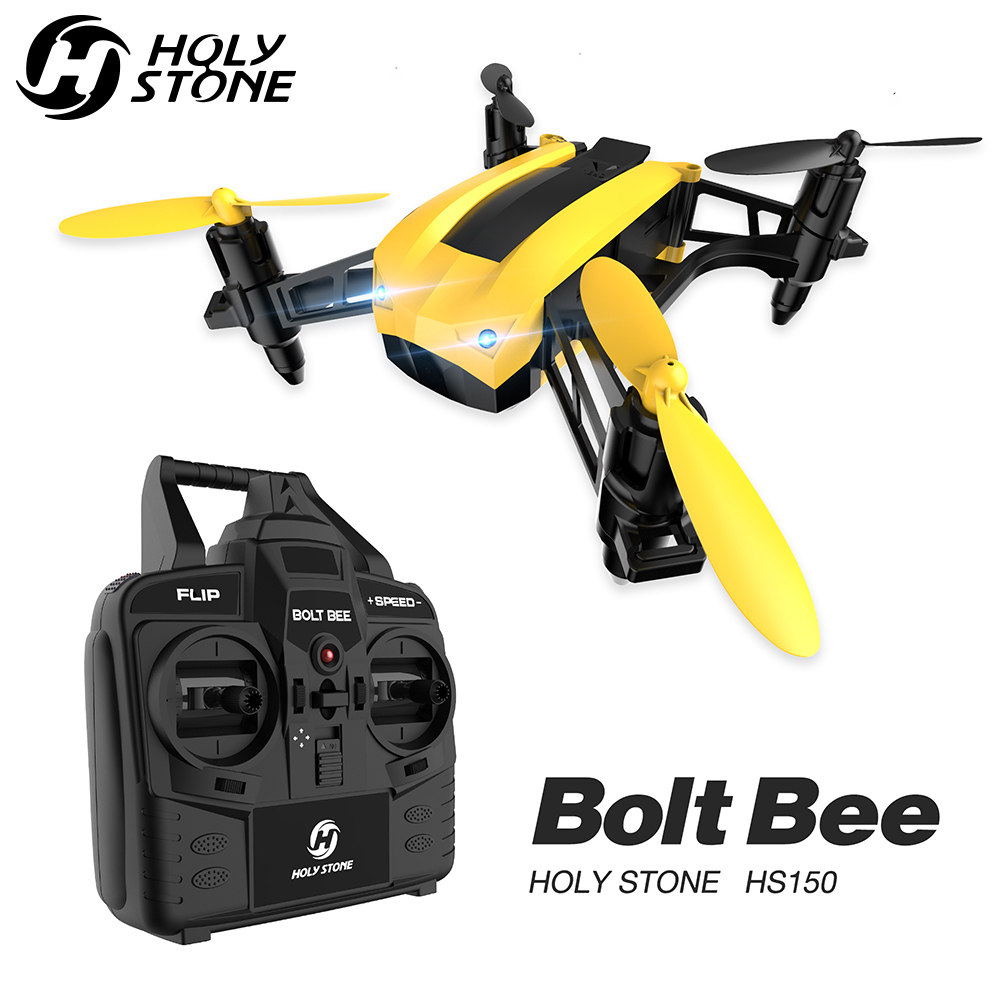 [EU USA Stock] Holy Stone HS150 Bolt Bee Racing Drone 50Km/h High Speed RTF  2 4GHz RC Quadcopter Wind Resistance With 2 Battery