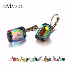 eManco Fashion Costume Jewellery Earrings for women 19 colors Minimalist  Geometric Create Crystal Drop Earrings 605896b072b6