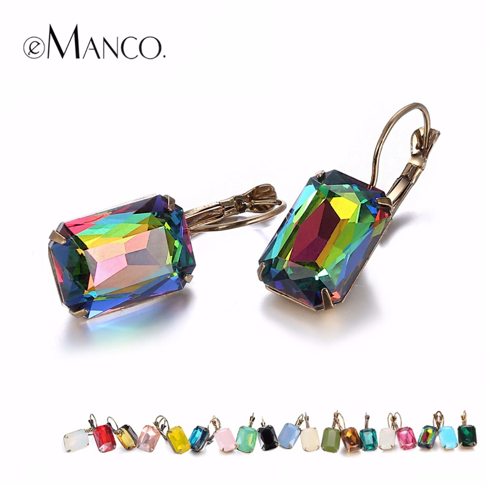eManco Fashion Costume Jewellery Earrings for women 19 colors Minimalist Geometric Create Crystal Drop Earrings ...