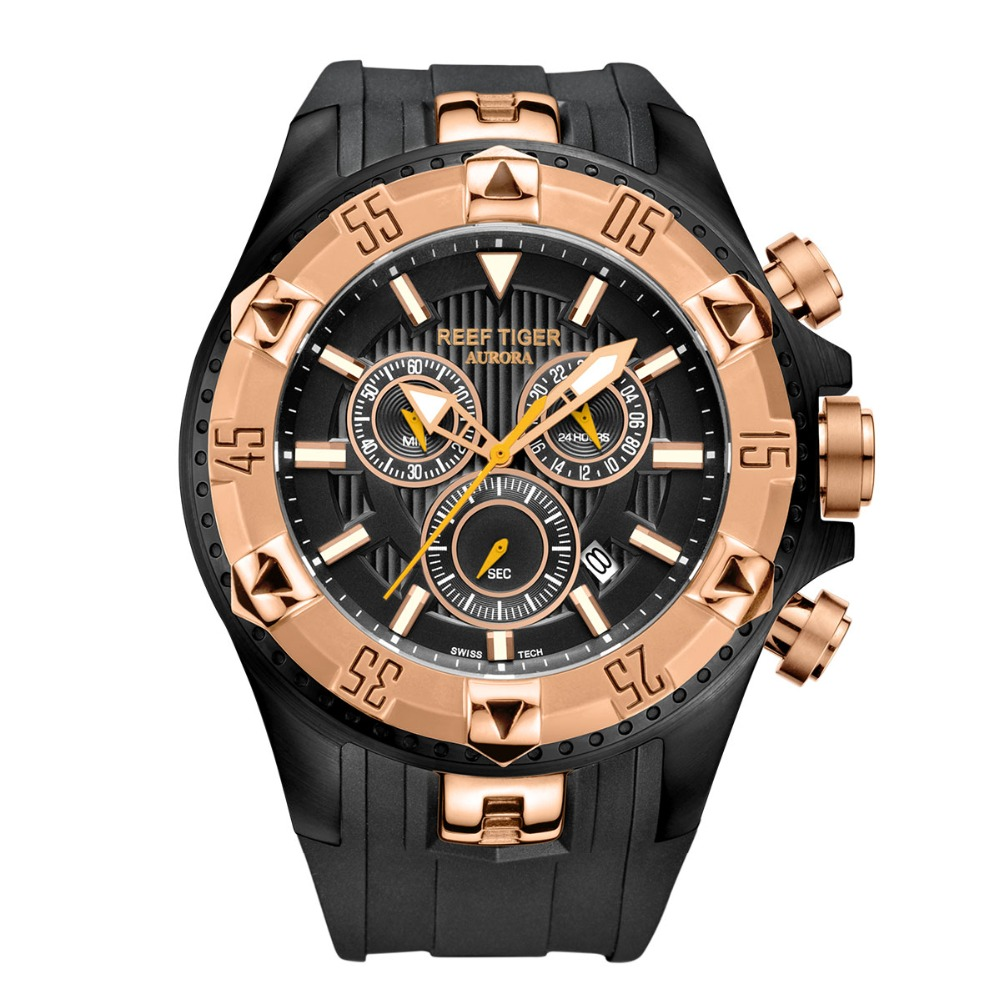 Reef Tiger/RT Men Sports Watches Quartz Watch with Chronograph and Date Big Dial Black Steel Super Luminous Stop Watch RGA303 機械 式 腕時計 スケルトン