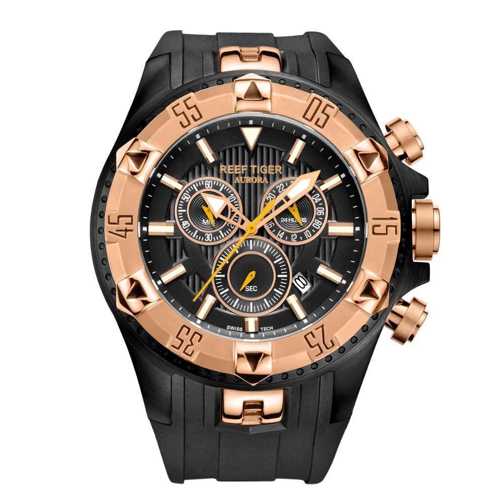 Reef Tiger/RT Jam Tangan Olahraga Pria Jam Kuarsa dengan Chronograph And Date Big Dial Hitam Baja Super Bercahaya Berhenti tonton RGA303