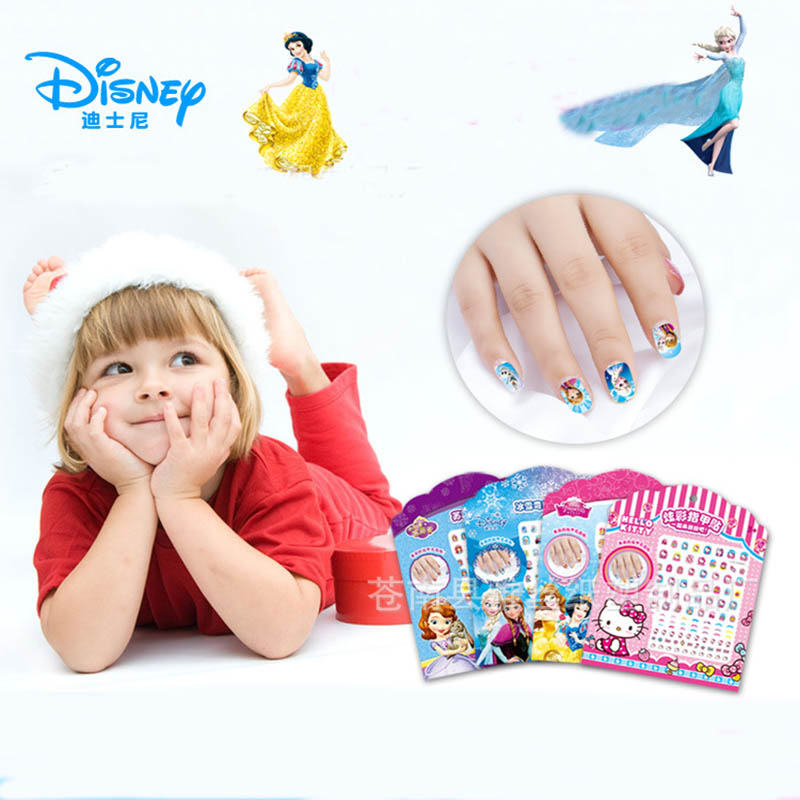 Disney Pretend Play Beauty Fashion Toys Frozen Nail Sticker Girl Colorful Children Cartoon Nail Patch Waterproo Large Size