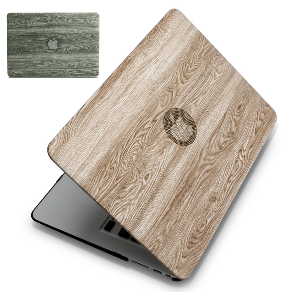 ZVRUA, Classical wood grain PU leather top + Hard plastic Laptop Case for MacBook Air Pro Retina 11 12 13 15 inch Touch Bar New