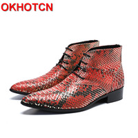 Spring Autumn Mens Boots Casual Genuine Leather Boots Men Lace Up Pointed Toe Worker Shoes Bling Red Blue Snakeskin Pattern Boot