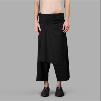 28-44 The New Men's Casual Stitching Pants Skirts Fashion Large Size Culottes Irregular Patchwork Ankle-length Pants Costumes
