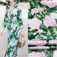 100X145cm Fashion Week Runway The Hydrangea Green Leaves Imitate Silk Satin Fabric for Woman Girl Dresses Pajamas DIY-AF235