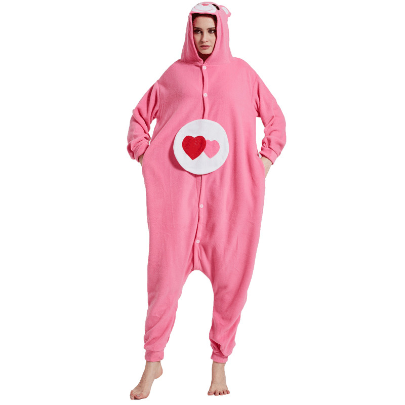 Care bears Kigurumi Onesies Costumes Men and women Hooded animal cartoon pajamas blue shark home lovers long sleeve Jumpsuits