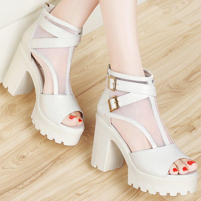 de aire zapatos Guciheaven de 2017 los sandalias malla sandalias tacones mujeres cubren calzado sexy rough fácil maduras tacón cómodo adaptación altos de zwWq7Hxfzr