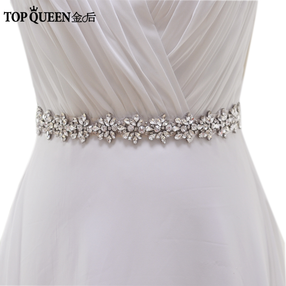 TOPQUEEN S269 Kvinnors Crystal Rhinestone Bridesmaid Evening Party Dress Bröllopsklänningar Tillbehör Midjeband Bridal Sashes Bälten