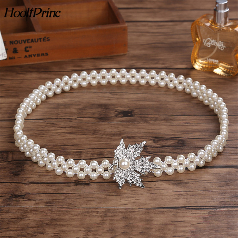 BrandNew Fashion Small silver Buckle Inlaying Rhinestone Pearl Elastic Belts For Women all-match Dress Free Shipping
