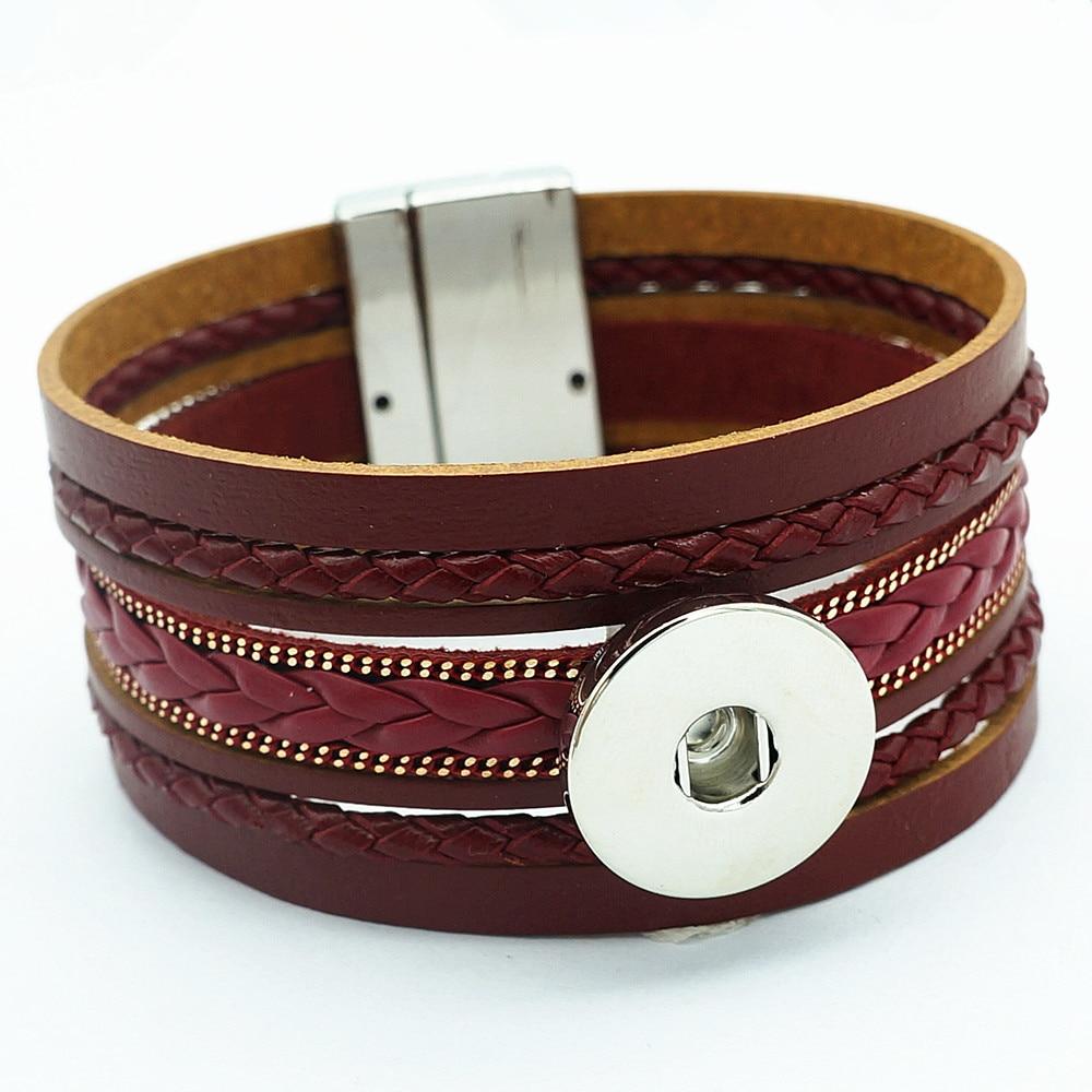 SE0170 Real Leather Snap Bracelet Magnetic Buckle 21CM Fit 18MM Snap Buttons
