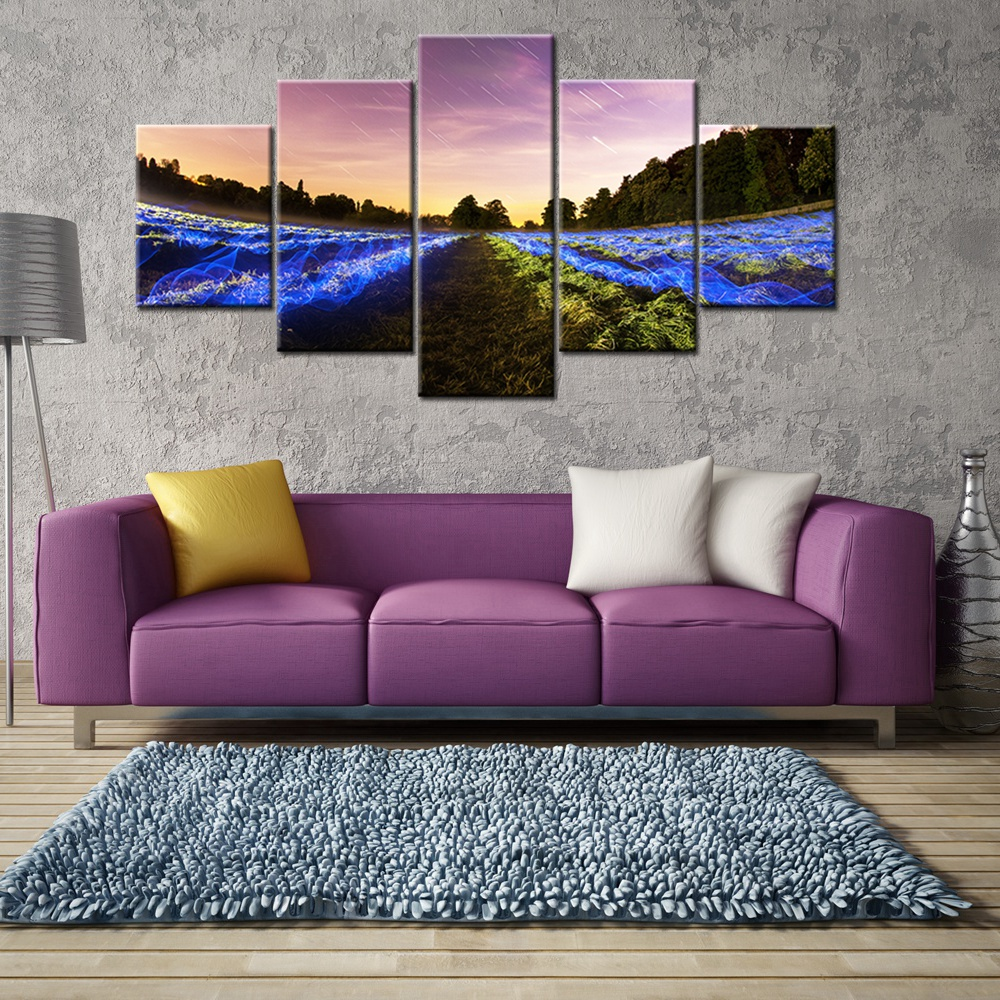 Forest Landscape Fashion Office Decor Wall Art Meteor Shower Blue Fire Print Canvas Painting for Modern Home Decoration