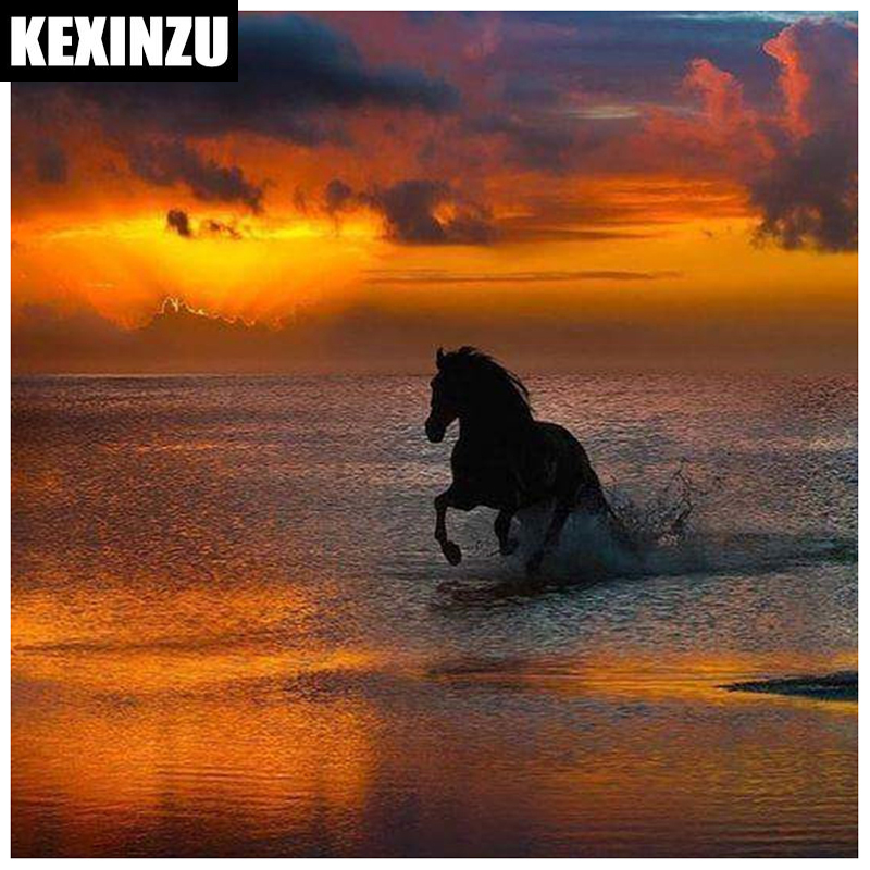 DIY Full Square Diamond embroiderySunset horse5D Embroidery Cross Stitch Rhinestone Diamond Painting Mosaic Decor Gift