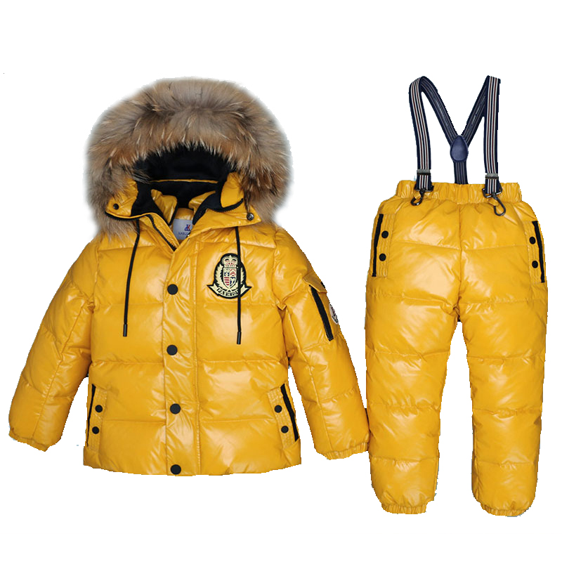 Mioigee Super Warm Children Winter Suits Boys Girl Duck Down Jacket +Pants 2 pcs Clothing Set Thermal Kids Snow Wear Top Quality 2018 children winter suits boys duck down jacket pants clothing set kids warm thicker coat snow wear parka baby girl clothes