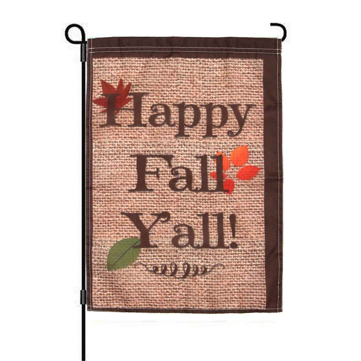 Meigar 18''x12.5'' Happy Fall Yall Autumn Polyester House Holiday Decorations Garden Flag Indoor Outdoor Home Tree Decor