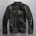 Punk style rivet slim fit genuine leather jacket men black cowskin motorcycle jacket biker coat men thin leather coat male Metal