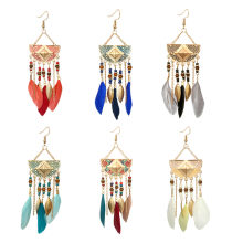 tassel earrings Women Bohemian Fan-shaped Beaded Tassel Feather Earrings boucle doreille femme 2019 oorbellen Drop Shipping(China)